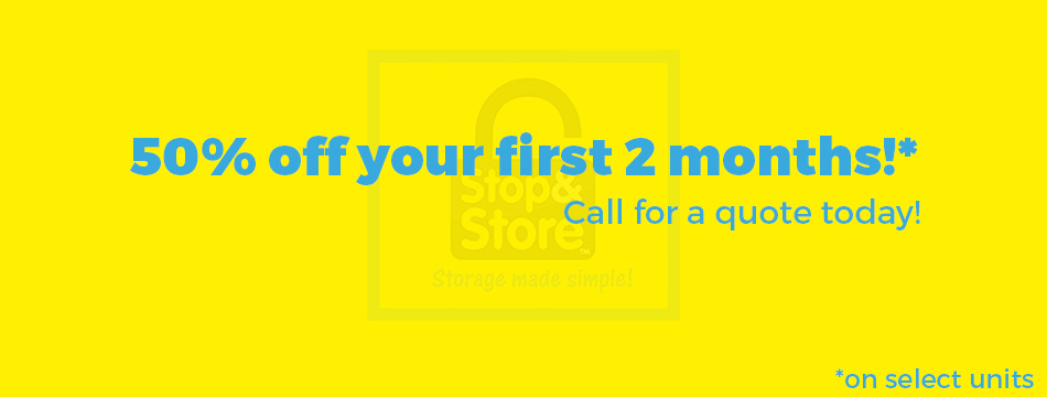 deal, promotion, 50% off, storage units