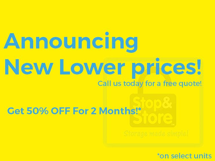 promotion, deal, 50% off, storage units