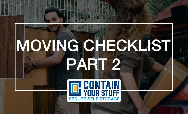 moving checklist, man, car, boxes